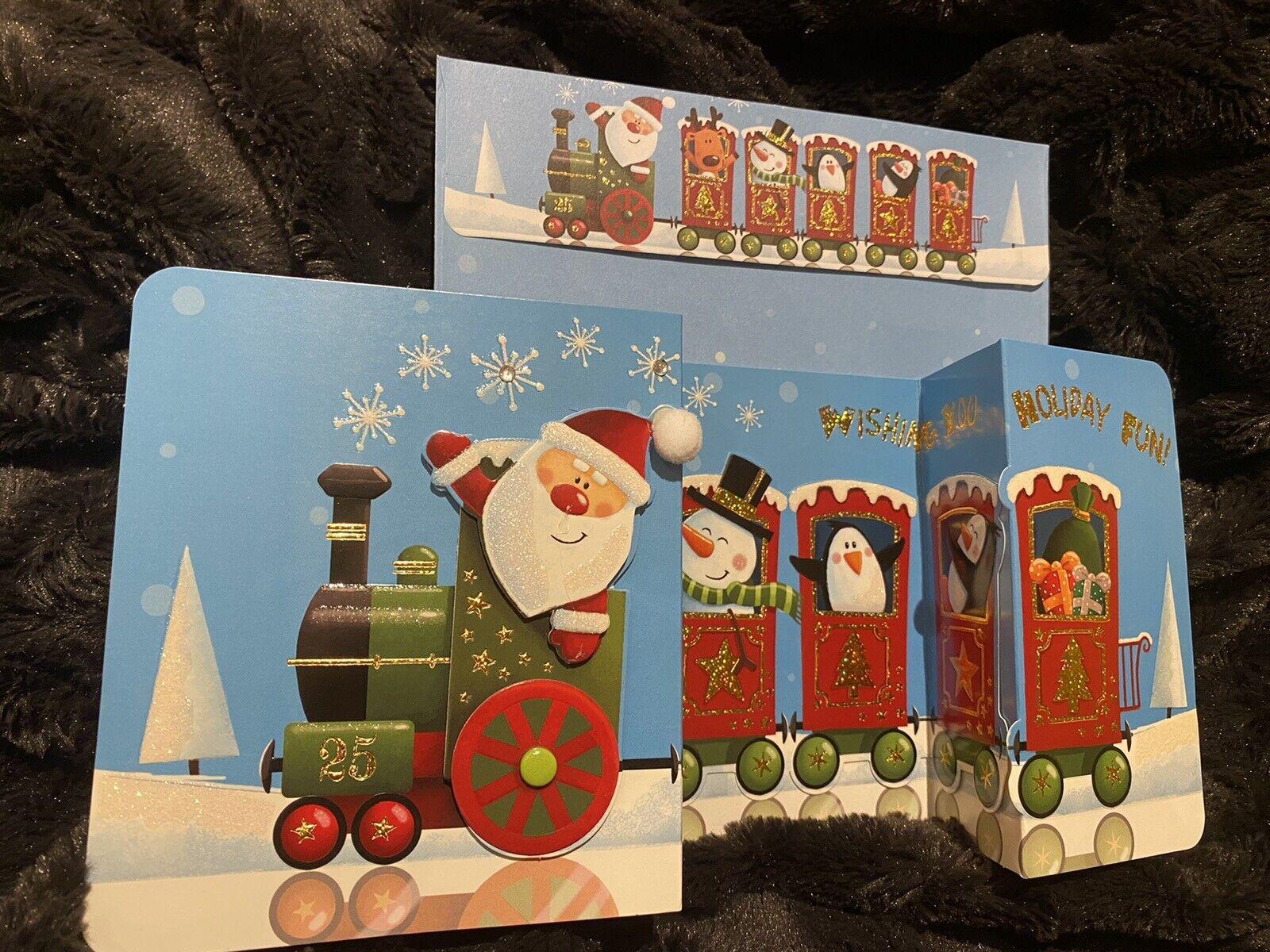 3D De Lujo Santas Navidad Tren Expreso Tarjeta Felices Fiestas divertido sacar Pompón