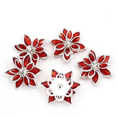 10 HOT Flower Embellishment Findings Rhinestone Flatback Red 23mmx24mm