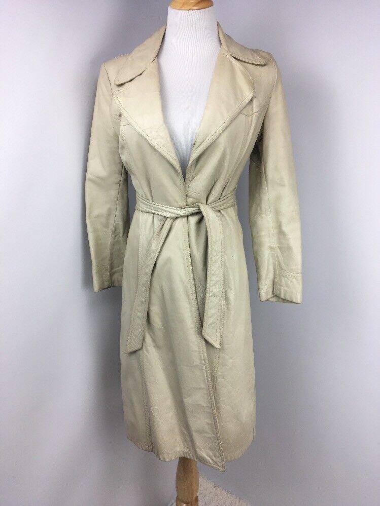 Vintage años 70 Remy Beige  Larga Corbata 100% chaqueta de cuero para mujer Abrigo Trench De Bohemia Talla 6  ¡No dudes! ¡Compra ahora!