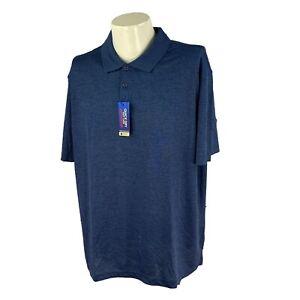 Haggar Men's Performance Easy Care UPF Blue Polyester Golf Polo NWT Shirt XL