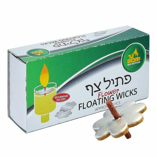 50 Flower Floating Wicks Shabbos Chanukah Oil Candle Menorah
