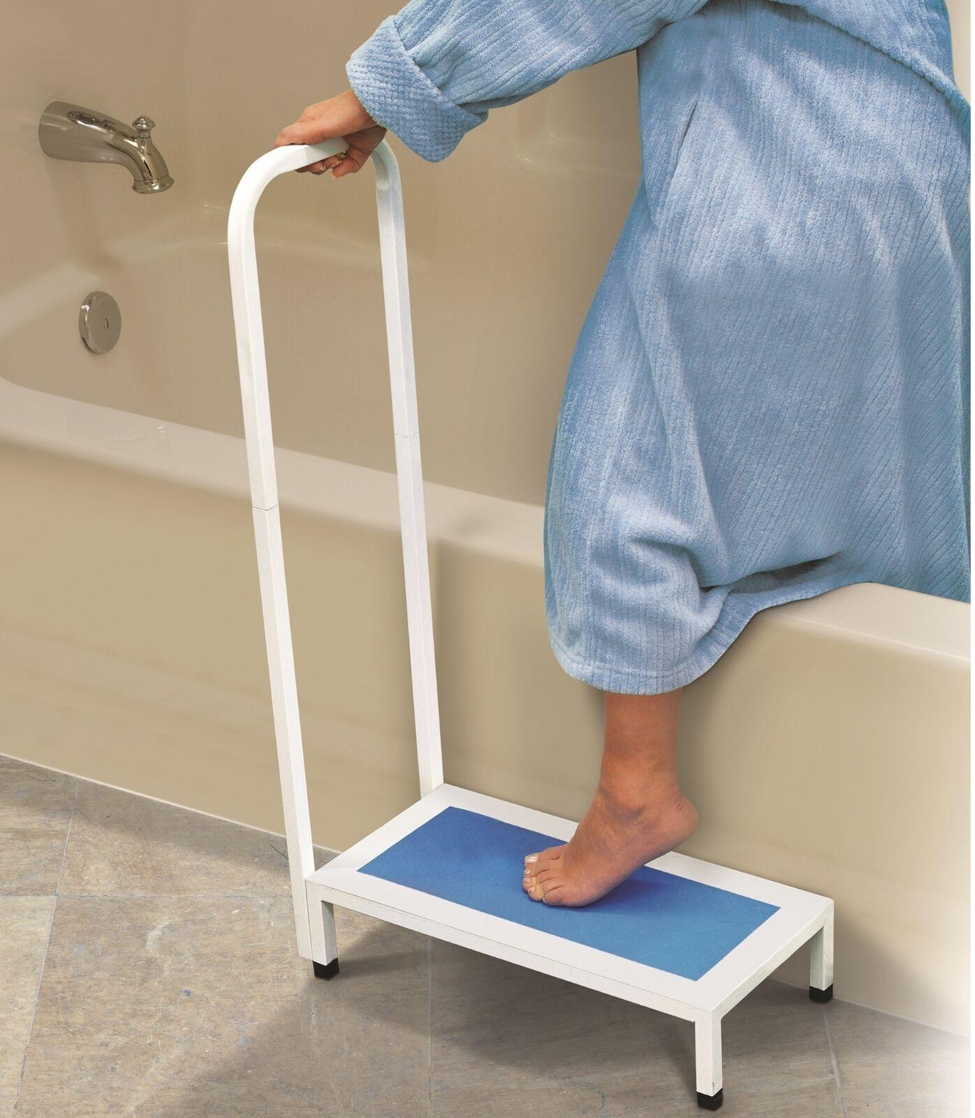 Bath Step With Handle Non Slip Surface Sturdy Aid Bathroom 500LBS NEW Shower NEW
