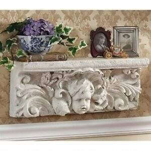 "Antiques Collectibles Buy Cheap 20"" Italian Cathedral Sculptural Angel Baby Pediment Wall Shelf Hanging Decor"