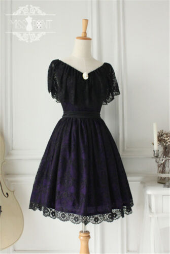 Lolita Gothic Palace Retro College Lace Black Short Dress