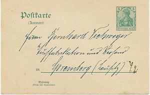 DT-REICH-5-Pf-GA-Antwortpostkarte-m-privater-Zudruck-adressiert-n-SPREMBERG