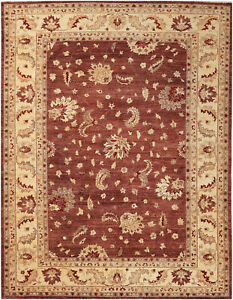 9X12 Hand-Knotted Oushak Carpet Traditional Brown Fine Wool Area Rug D16287