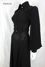Vtg 70s Ossie Clark Statuetesque Silhouette Black Moss Crepe Maxi Gown Dress