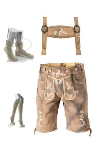 2teilig Trachtenset-antik-grau  kurze Lederhose alle Größen+Kniestrümpfe Socken