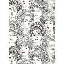 BV2419 Wallpaper Pucker Up Butter Cup Black White Gibson Girl Toile Wallpaper