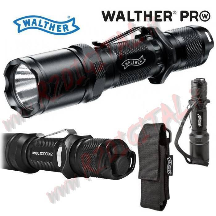 LED Flashlight Tactical Walther D 1100x2 800 Lumens Batteries  Holster Clip Belt  free delivery