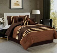 7 Pc CAL KING BROWN TAUPE TAN Ruffled Embossed Stripe Comforter Set Bed in a Bag