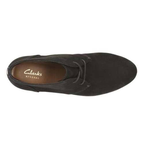 5 Botines £ Clarks 38 Bnwb Ladies Rrp D Suede Black 70 Wedged Aaqpa1