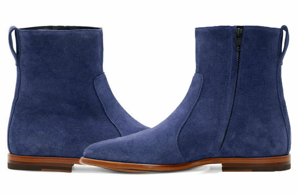 bluee Mens Suede Leather shoes Handmade Jodhpurs High Ankle Chelsea Boots