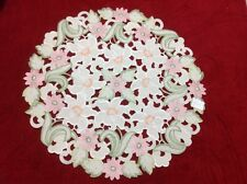 Bittersweet inn elegant round table cloth linen flowers embroidery cutwork white