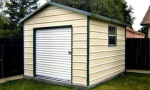 10 x 12 Metal Storage Shed with a Floor and a 6 x 6 rollup door - Installed