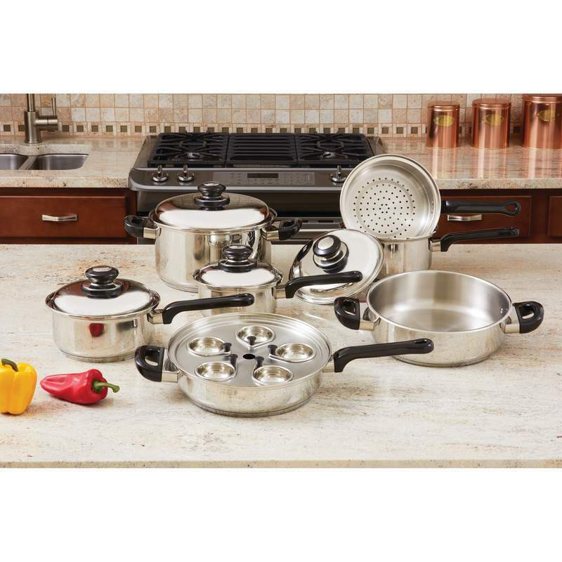 NEW   17pc T304 Stainless Steel Cookware Set - Retail  342.95
