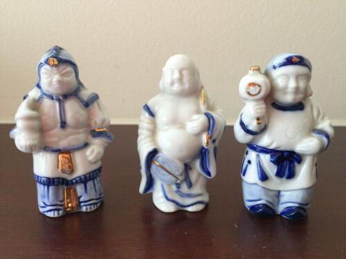 Vintage Japanese Willow Blue White Porcelain Buddha Warrior Figurine Set of 3