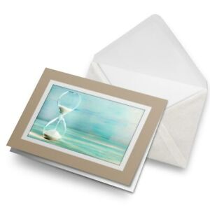 Greetings-Card-Biege-Hourglass-with-Falling-Sand-Time-21705
