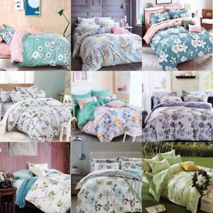 New-Cotton-Duvet-Cover-Set-Quilted-Bedding-Set-With-Pillow-Cases-amp-Fitted-Sheet