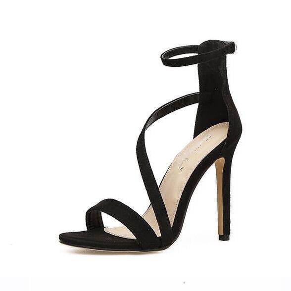 Sandali eleganti tacco pelle stiletto 11 cm nero simil pelle tacco eleganti 9861 880459