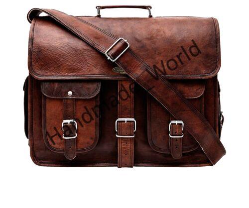 portable cuir pour Nouveaux hommes chèvre vintage brun de ordinateur sacoche messager véritable 35RLj4Aq
