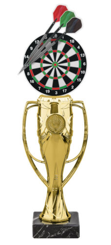 DARTS DARTBOARD ACRYLIC TROPHY CUP GOLD OR SILVER *FREE ENGRAVING* 340mm