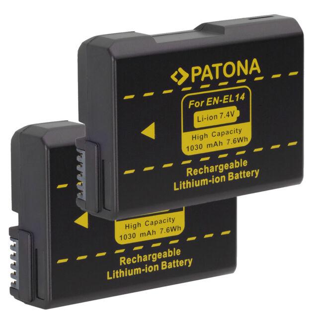 2 x Akku für Nikon D5300, D5500, D5200, D5100 - EN-EL14 - Patona