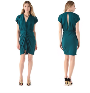 NWT  HAUTE HIPPIE COASTAL TEAL TWIST FRONT JERSEY SLINKY DRAPED DRESS L