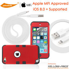 Apple iPod Touch 5 5th Gen.USB Data Sync Charger Cable Cord+Protective Case+Film