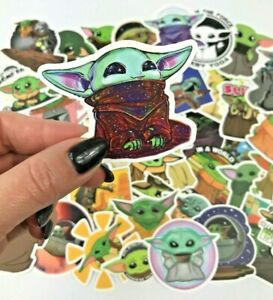 50-Pack-Star-Wars-Adorable-The-Mandalorian-Baby-Yoda-Laptop-Wall-Decal-Stickers