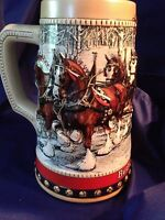 1988 BUDWEISER ANHEUSER BUSCH CHRISTMAS HOLIDAY STEIN 'HOLIDAY HARNESS'