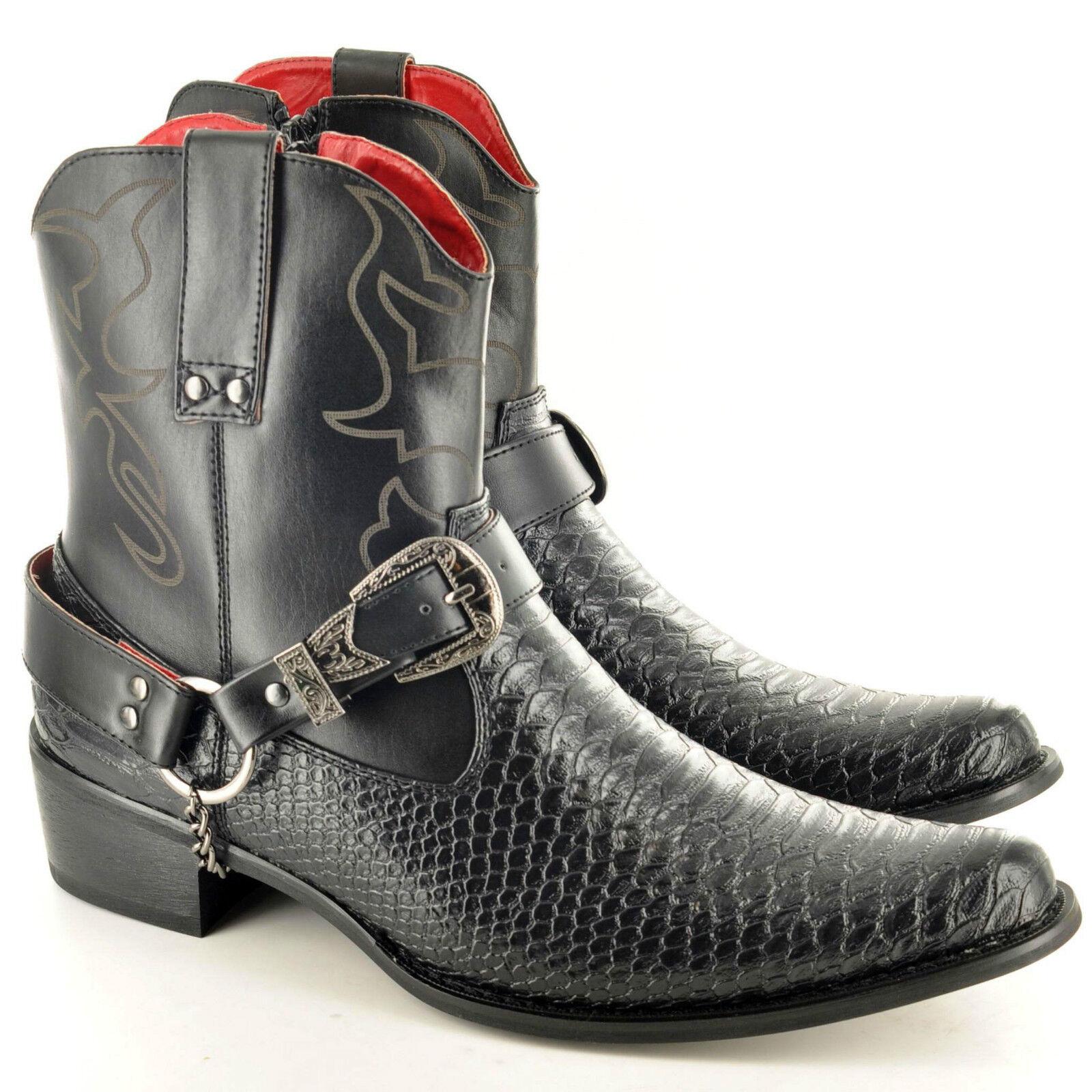 Hombre Hombre Hombre Gents Snake Skin Full Zip Western Cowboy Ankle botas Talla 6 7 8 9 10 11 cbbc84