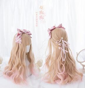 Sweet Lolita Fashion Long Wavy Hair Gradient Wig Harajuku Cosplay Wigs#926