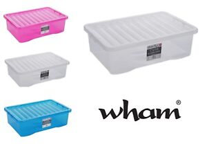 Image Is Loading 32 Litre Plastic Storage Box Clear Underbed