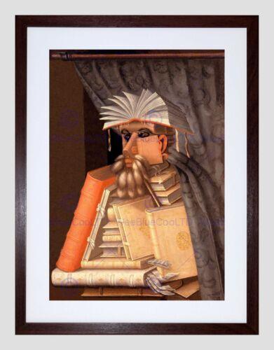 PAINTING ALLEGORY PORTRAIT ARCIMBOLDO LIBRARIAN DETAIL FRAMED ART PRINT B12X3645