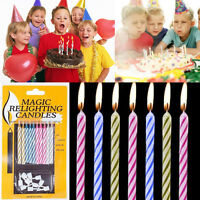 HOT SALE 10PCS MAGIC TRICK FUN RELIGHTING CANDLES BIRTHDAY CAKE PARTY XMAS JOKE