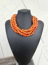 VINTAGE AUTHENTIC 5 Strand  Navajo Natural Coral Native American Necklace