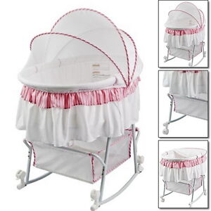 Portable Baby Infant Bassinet Cradle Rocking Canopy Fold Nursery Bed Furniture