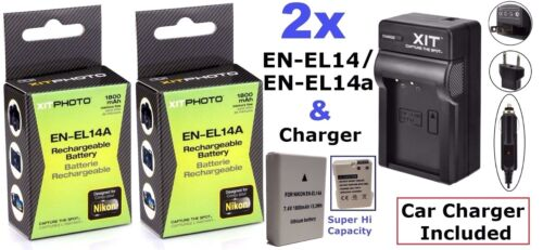 Free Charger 2Pc EN-EL14a Battery With MultiPower Battery Grip For Nikon D5100