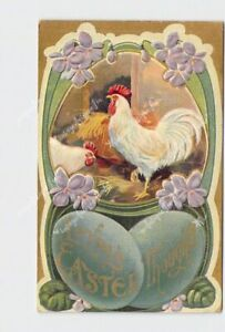 PPC-POSTCARD-LOVING-EASTER-THOUGHTS-ROOSTERS-EGGS-VIOLETS-EMBOSSED