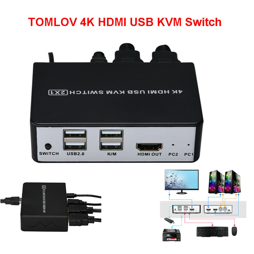 HDMI KVM Switch 4 Ports 4K@60Hz 4:2:0 by J-Tech Digital with HDMI and USB Cables Support Quick Switch USB 2.0 Hub HotKey Push Button Wired Desktop Controller Auto Scan JTECH-KV41