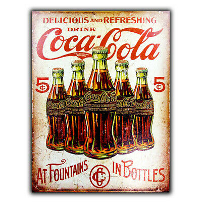 Antique Vintage Looking,Round Wooden Coke,Coca Cola Sign Christmas Ornament
