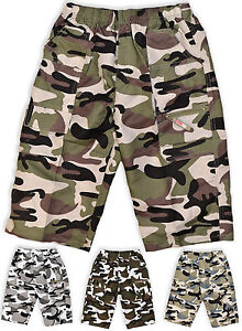 033ac664fef82 Boys Army Cargo Shorts Kids Camouflage Combat Print Bermuda New Age ...