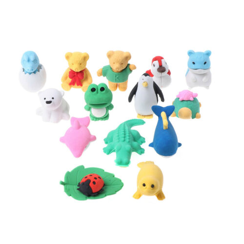 14x Cartoon Animal Eraser Rubber Stationery School Supplies Erasers Funny Gift