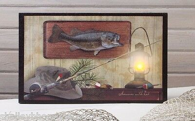 Lighted Picture Memories w Dad Fishing Wall Art w 6 hr Timer 12875 NEW Gift