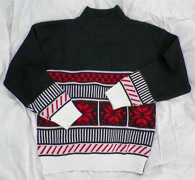 Vintage KAELIN  Mens Small Nordic Snowflake Wool Blend SKI SWEATER Checkered