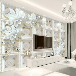 3d Ivory Floral Flower Butterfly Modern Wall Mural Wallpaper Living Room Bedroom Ebay