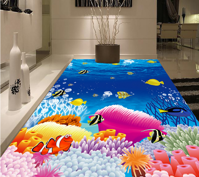3D Cartoon Fishs  543 Floor WallPaper Murals Wall Print 5D AJ WALLPAPER UK Lemon
