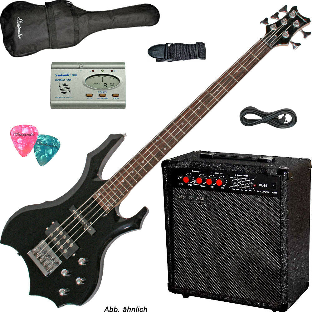 5-saiter METAL Bass Set Gothik nero 60w amp regolatore voce Borsa Cavo Cinghia Pleks