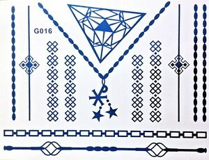 Flash-Einmal-Temporary-Klebe-Tattoo-Blau-13teile-Armband-Hals-Fuss-Kette-Body-G16